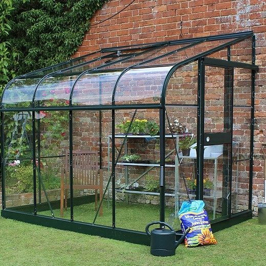 8x6 green silverline lean to wall greenhouse halls